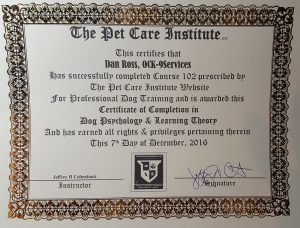 Dog Training Certificate